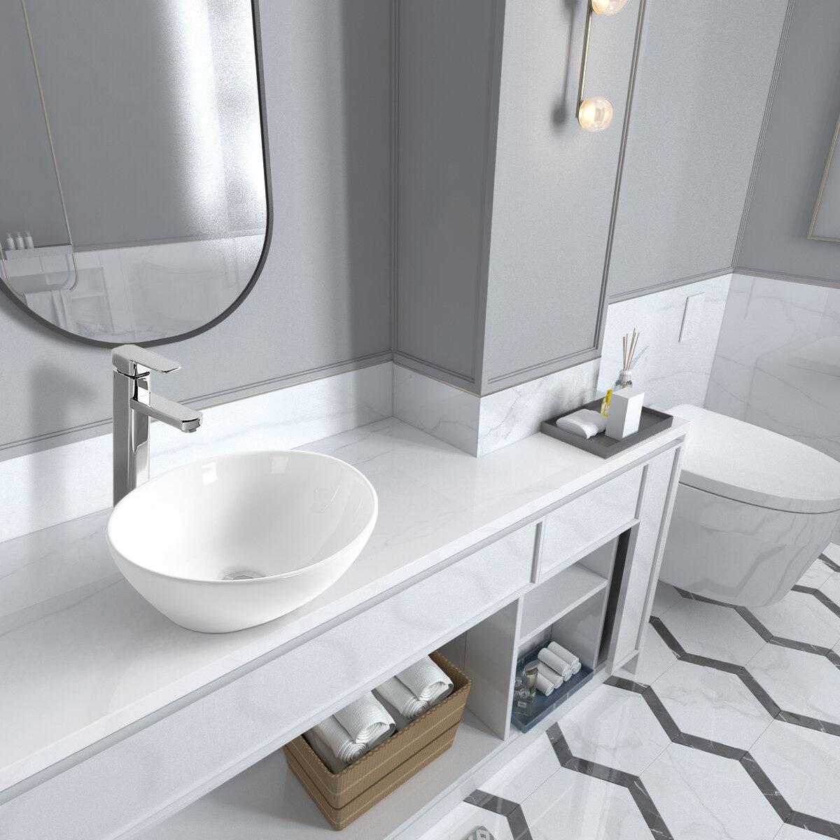 "Sinber 19/""x15/"" Rectangle Ceramic Bathroom Vanity Vessel Sink Above Counter Basin"