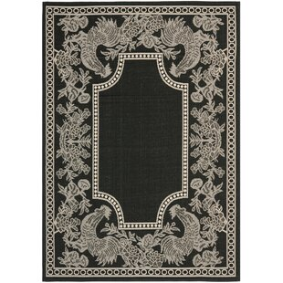 Affordable Price Laurel Black/Sand Indoor/Outdoor Rug By August Grove