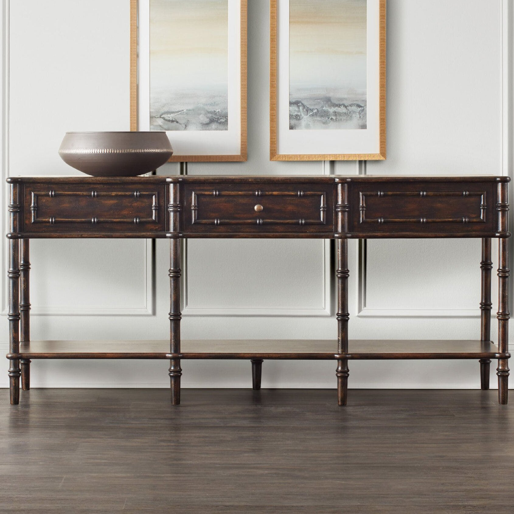 Bamboo Sofa Table Faux Bamboo Tortoise S Finish Console