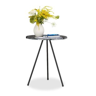 Marble Look 3 Leg Round Side Table