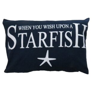 Wish Upon a Starfish Printed Decorative 100% Cotton Lumbar Pillow