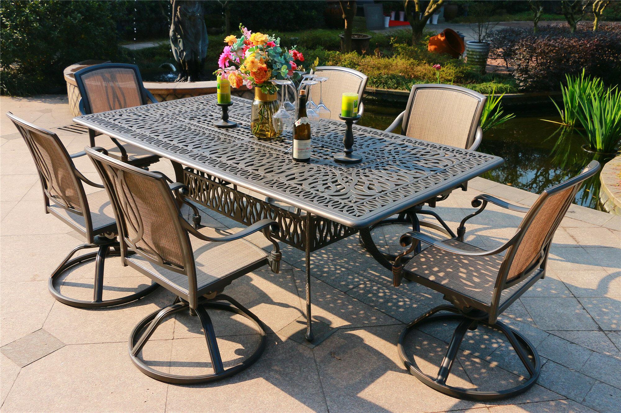 Amazing Bancroft Aluminum 7 Piece Dining Set Frankydiablos Diy Chair Ideas Frankydiabloscom