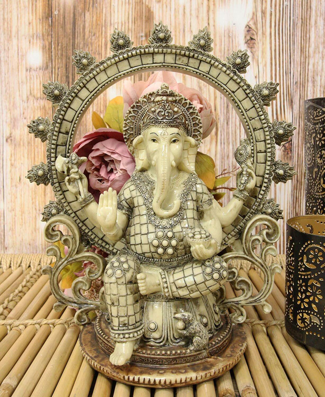 World Menagerie Fortunat Hindu Vastu Supreme God Nataraja Ganesha Chaturthi On Lotus Throne With Mouse And Arch Ring Of Fire Figurine Wayfair