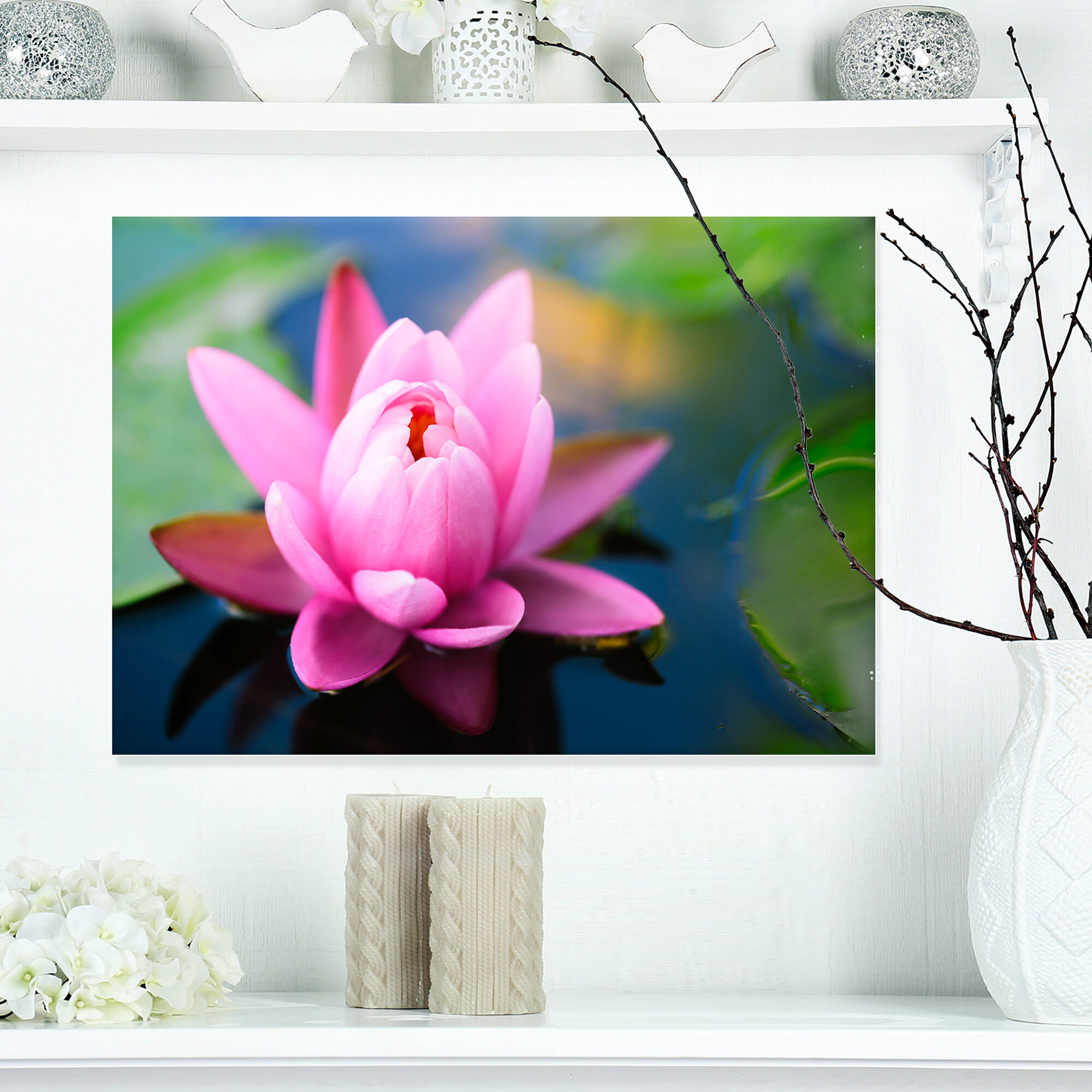 Designart Large Lotus Flower In The Pond Photographic Print On