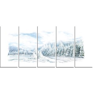 Christmas Winter Happy Panorama 5 Piece Painting Print on Wrapped Canvas Set