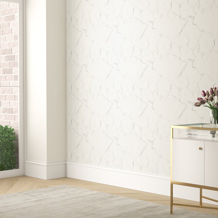 Martina Carrara Marble 16 5 L X 20 5 W Abstract Peel And Stick Wallpaper Roll