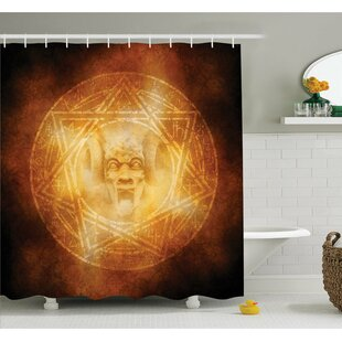 Horror House Demon Trap Symbol Logo Ceremony Creepy Ritual Fantasy Paranormal Design Shower Curtain Set