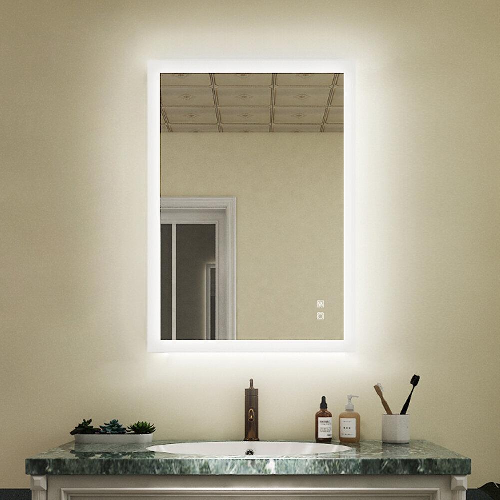 Orren Ellis Amis Modern Frameless Lighted Bathroom Mirror Reviews Wayfair