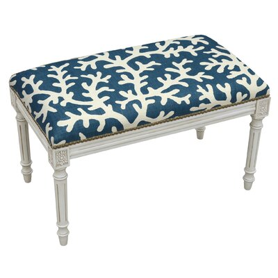123 Creations Coastal Upholstered Wood Bench Color Navy