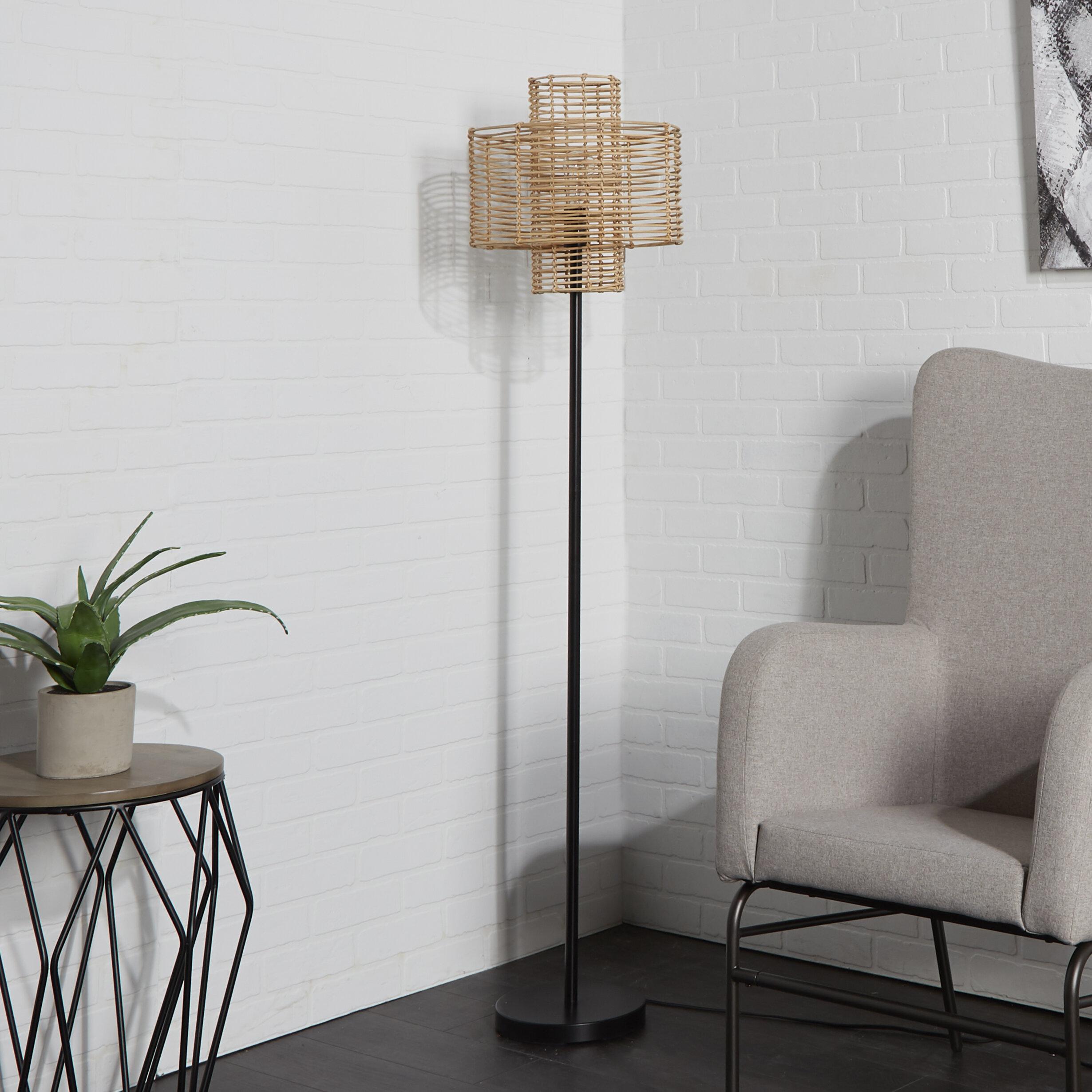 Bungalow Rose Myrtle Avenue Rattan 64 Floor Lamp Reviews Wayfair