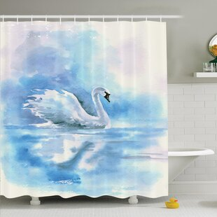 Animal Swan in Hazy River Art Shower Curtain Set