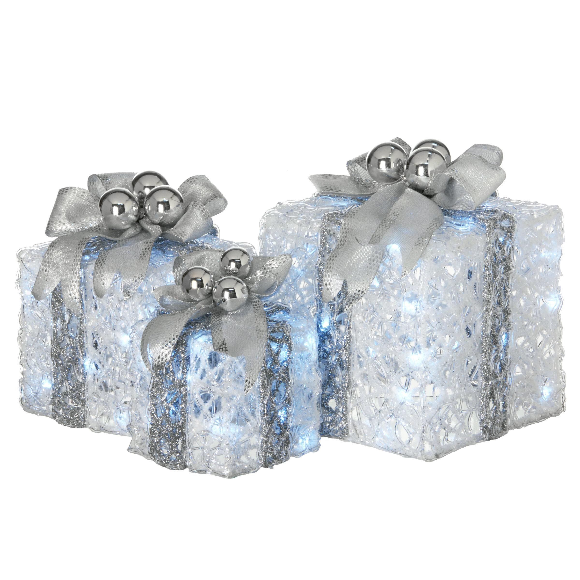 Mercury Row 3 Piece Pre Lit Gift Box Assortment Lighted Display Reviews Wayfair