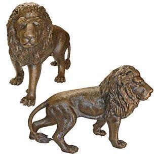 Design Toscano Guardian Lion Cast Bronze Garden 2 Piece Statue Set