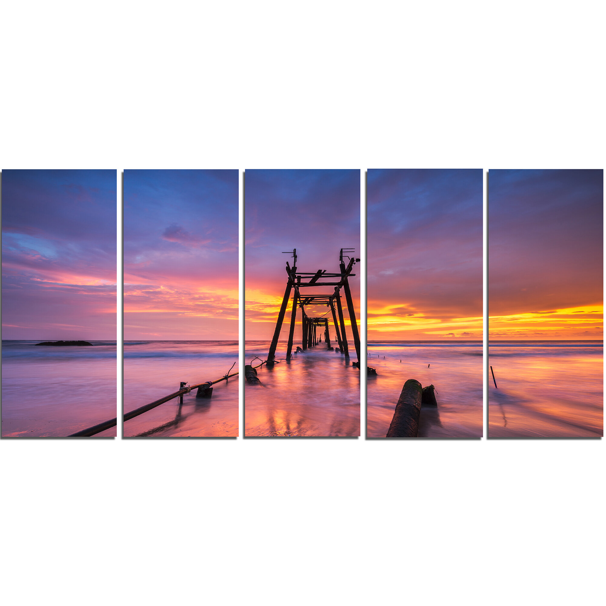Designart Broken Wooden Bridge At Sunset 5 Piece Wall Art On Wrapped Canvas Set Wayfair
