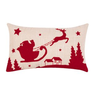 Walter Santa and Reindeer Lumbar Pillow
