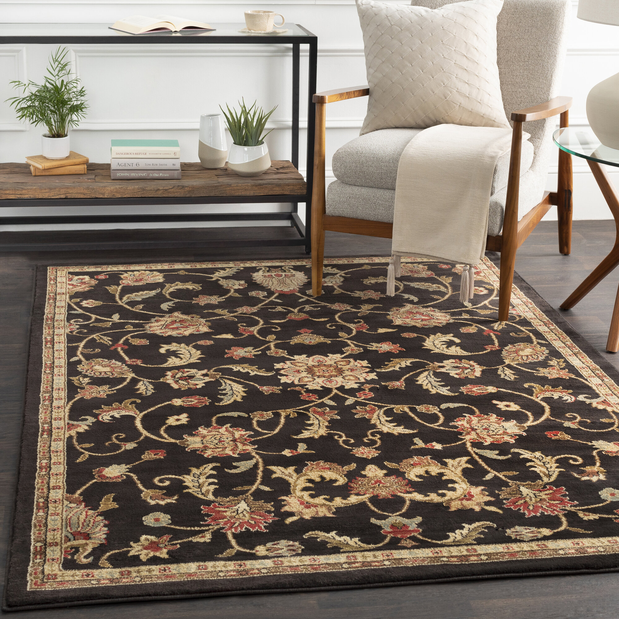 Charlton Home Gaskins Power Loom Black Tan Rug Reviews Wayfair