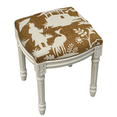 Pleasant 123 Creations Floral Chinoiserie Linen Upholstered Vanity Stool Machost Co Dining Chair Design Ideas Machostcouk