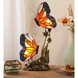 Double Butterfly Stained Glass 18 Table Lamp