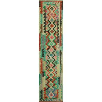 Bungalow Rose One Of A Kind Leeroy Turkish Handmade Kilim 3x13 Wool Red Area Rug Wayfair