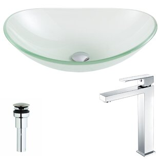 ANZZI Forza Glass Circular Vessel Bathroom Sink with Faucet