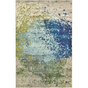 Affordable Hayes Beige/Blue/Green Area Rug By World Menagerie