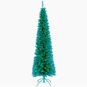 Tinsel Trees 6' Turquoise Tinsel Artificial Christmas Tree with Metal Stand