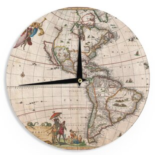World map clock wayfair bruce stanfield vintage map of the americas 12 wall clock gumiabroncs Image collections
