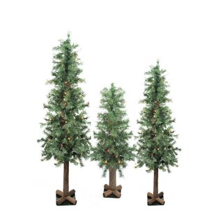 18979330335 3 Piece Pre-Lit Woodland Alpine Green Pine Artificial Christmas Tree with  300 Multi-Colored lights Set
