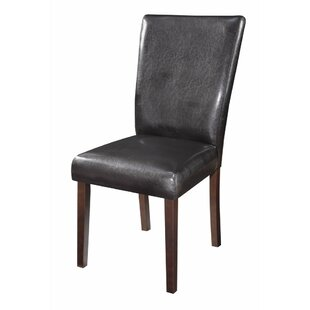 Winston Porter Hoelscher Authentically Designed Genuine Leather Upholstered Dining Chair (Set of 2)