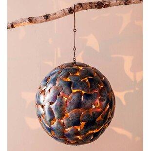 Mckibben Metal Gingko Leaf Hanging Globe Lantern by Bloomsbury Market