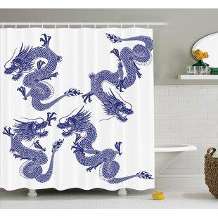 Joy Dragon Indigenous Japanese Dragons on White Vitality Legendary Creatures Asian Myth Print Shower Curtain ByEbern Designs