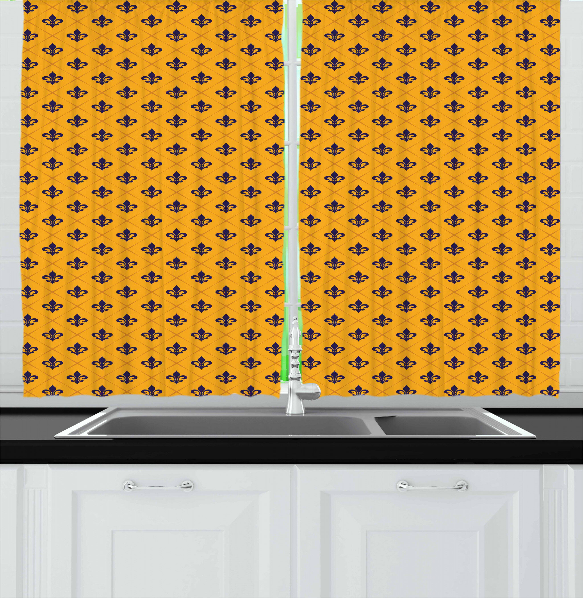 East Urban Home Fleur De Lis Kitchen Curtain Wayfair