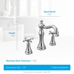 Moen Weymouth Widespread High Arc Bathroom Faucet with Optional Pop-Up Drain