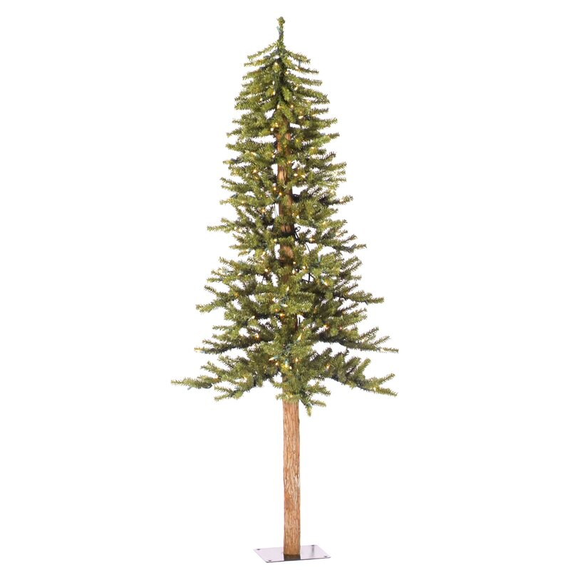 Natural Alpine Green Pine Artificial Christmas Tree with Clear Lights - The Holiday Aisle Natural Alpine Green Pine Artificial Christmas
