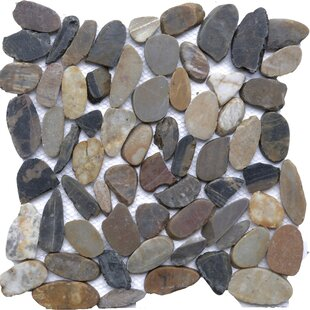 Ocean Breeze Random Sized Natural Stone Pebble Tile in Sienna