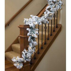 Pre-lit Heavily Flocked Pine Artificial Christmas Garland
