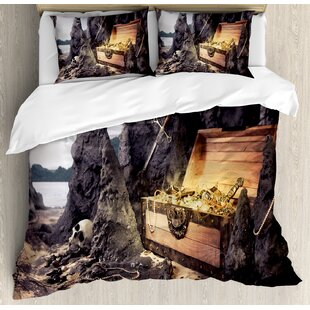 East Urban Home Fantasy Open Treasure Chest with Gold's and Sword in Cave Pirate Fairy Illustration Duvet Set