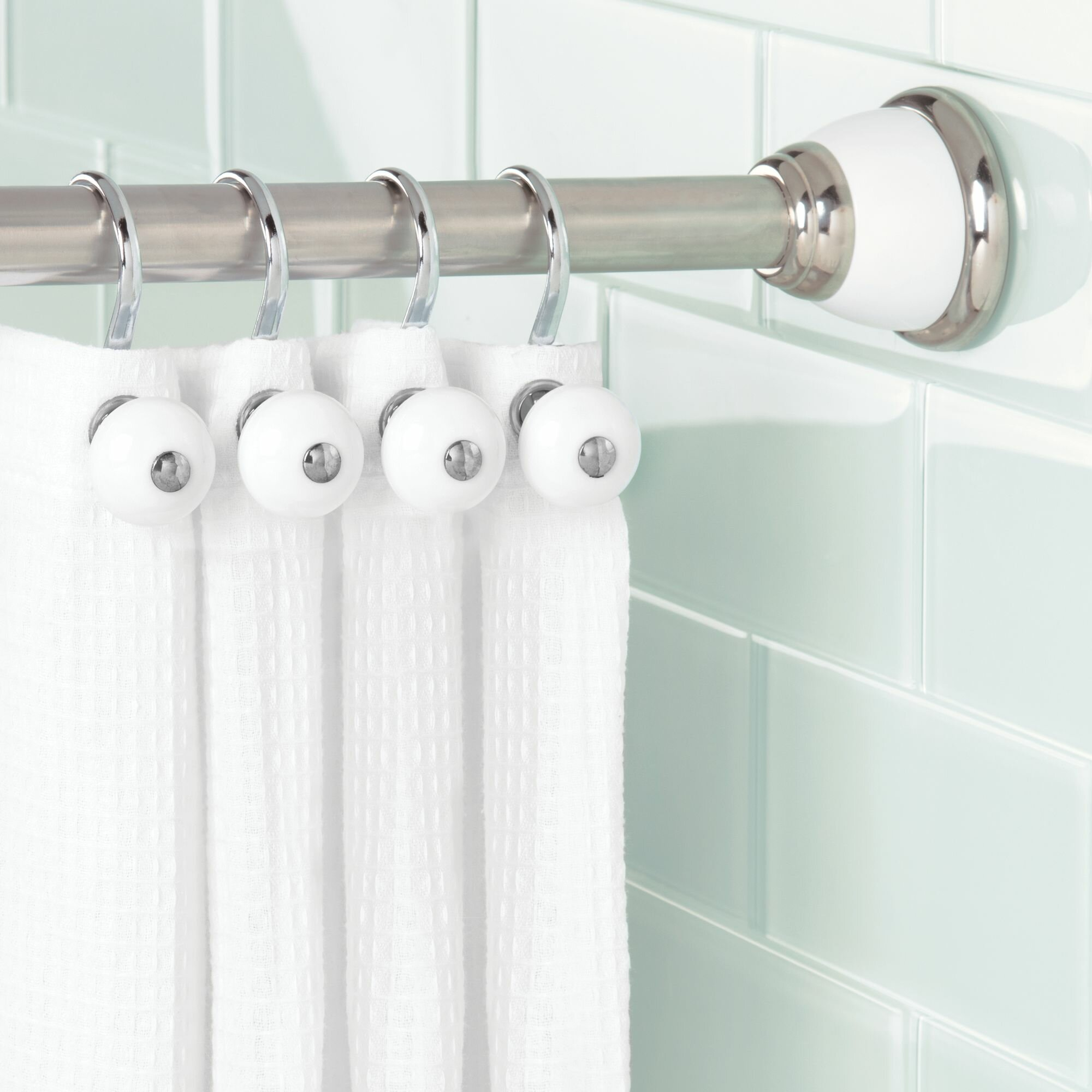 Norris 46 7 Adjustable Straight Tension Shower Curtain Rod