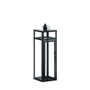 Gracie Oaks Geometry Iron and Glass Lantern