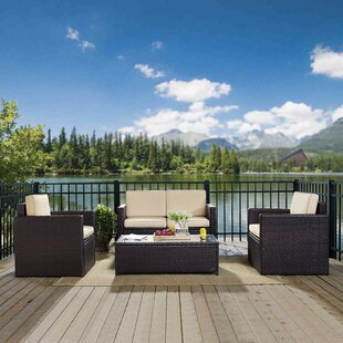 Belton 4 Piece Rattan Sofa Set with Cushions