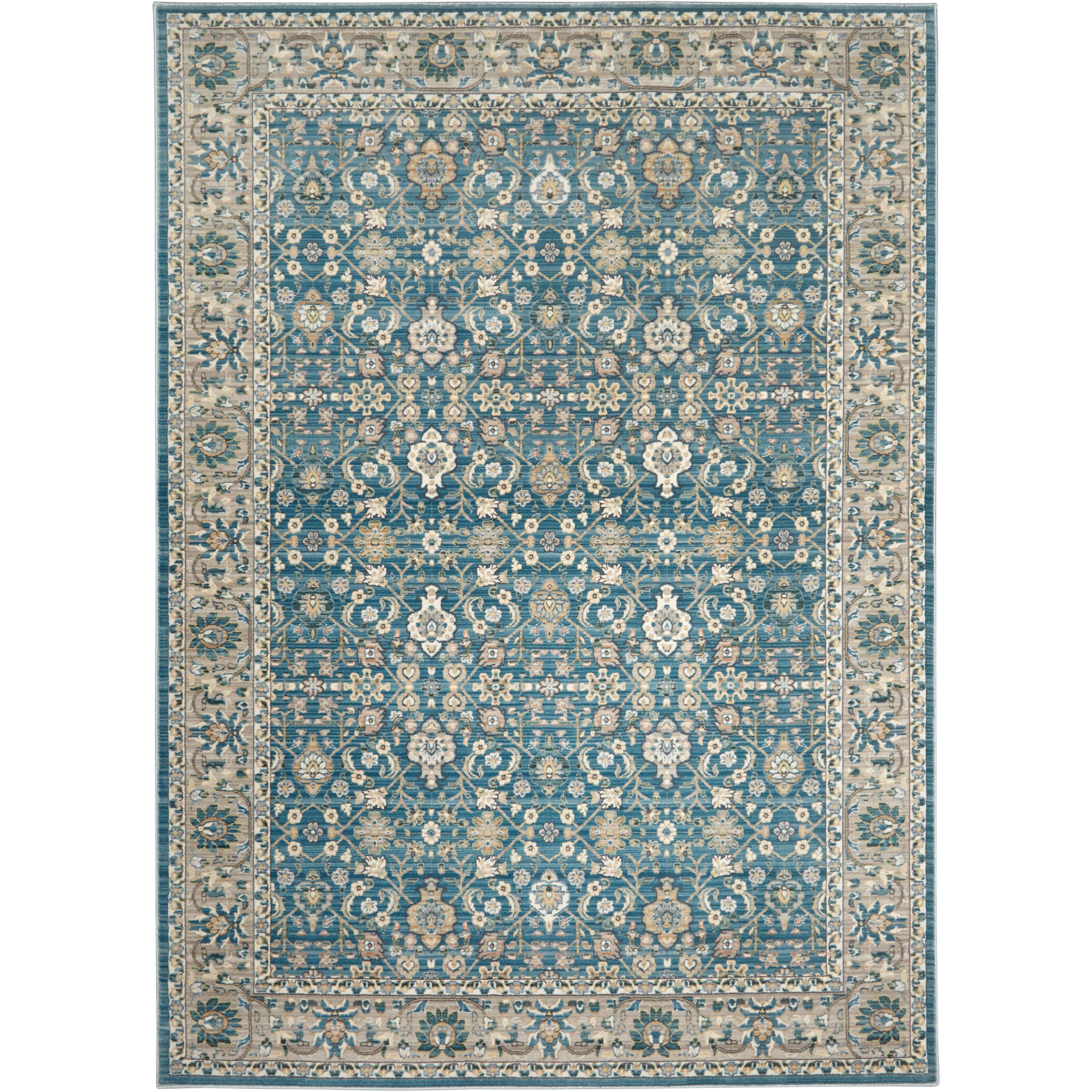 Salon Taupe Et Turquoise juliet floral border ivory/gray/blue area rug