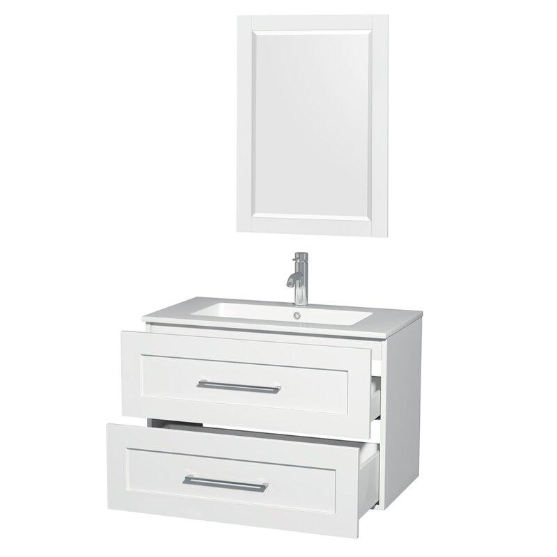 Wyndham Collection Olivia 36 Single Glossy White Bathroom Vanity