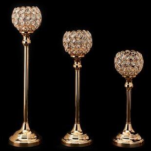 Crystal Ball 3 Piece Candlestick Set