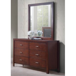 6 Drawer Double Dresser with Mirror by Best Quality Furniture
