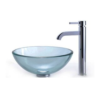 Kraus Clear Glass Glass Circular Vessel Bathroom Sink with Faucet