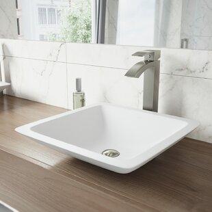 Savings VIGO Matte Stone Square Vessel Bathroom Sink with Faucet By VIGO
