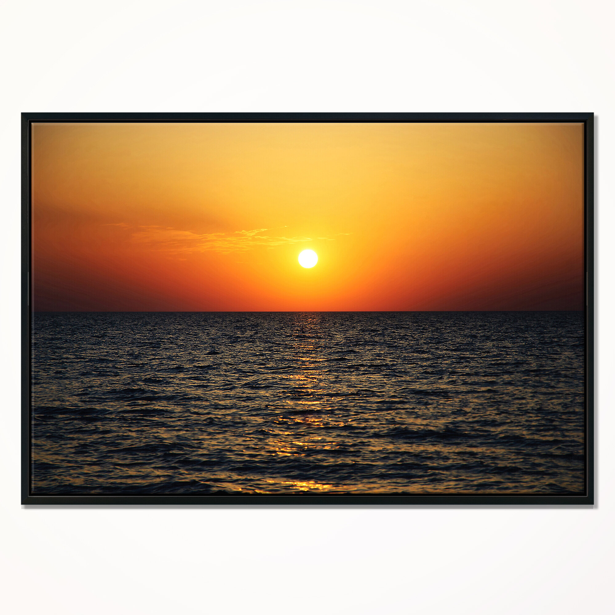 East Urban Home Sunset Panorama Under Sea Surface Framed Photographic Print On Wrapped Canvas Wayfair