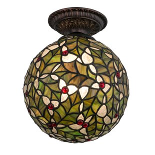 Meyda Tiffany 1-Light Holly Ball Semi Flush Mount