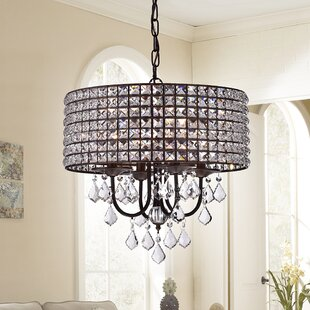 Rosdorf Park Coastal Blues 4-Light Crystal Chandelier