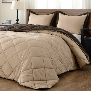 Lightweight Solid Hypoallergenic Down Alternative Reversible Comforter Set